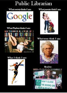 Bibliotecario (de BP): lo que la gente cree que soy. Public librarian: what people think I am