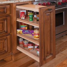 """Base Cabinet Pull-Out Organizer - 5-1/2""""W x 26-1/4""""H x 21""""D - Maple Wood by Home-Pro-Shops. $179.95. Solid Maple Box, Clear Natural Finish. 5-1/2"""" Base Cabinet Pull-Out with two adjustable shelves (6"""" minimum cabinet opening needed). Features blum Soft Close slides (need to be installed). American Made, Amish Hand Craftmanship. Installation instructions included - Cabinet door face NOT included. Base Cabinet Pull-Out Organizer - 5-1/2""""W x 26-1/4""""H x 21""""D. 6"""" min cabinet..."""
