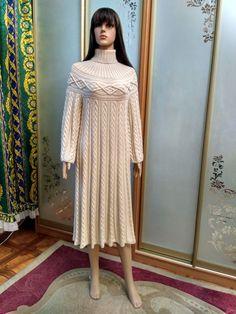 "Платье в стиле ""Шамони"" из кашемира с шелком! Going Vegan, Wool, Knitting, Sweaters, Dresses, Fashion, Vestidos, Moda, Tricot"