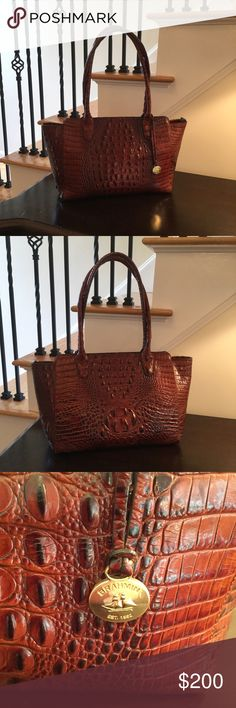 "Brahmin Ashby Croc Embossed Leather Tote Excellent condition. Used only a few times. Zip top closure, rolled 9"" top handles, interior zip, wall and smartphone pockets, key clip, protective feet, signature lining, imported Brahmin Bags Totes"