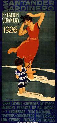 1926 Spain Santander - Girl Boy Europe Beach Casino Vintage Art Deco Poster #essenzadiriviera.com