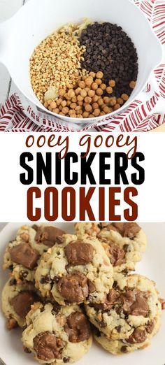 These Snickers Cookies are the perfect dessert for any occasion! Cookie recipes are a dime a dozen but this one is far superior! Your entire family will go nuts for these warm chewy and delicious cookies! Snickers Chocolate Bar, Snickers Candy Bar, Snickers Dessert, Delicious Cookie Recipes, Yummy Cookies, Dessert Recipes, Scone Recipes, Easy Recipes, Yummy Food