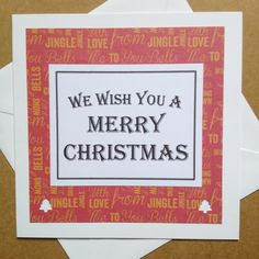 Christmas Song Lyrics Card | Square Christmas Greeting Card |  We Wish You a Merry Christmas by Simplistitch on Etsy