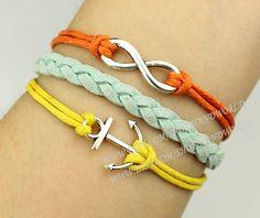 Silvery anchor bracelet infinity wish bracelet by handworld, $3.29