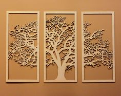 3D Tree Of Life   3 Panel Wood Wall Art   Beautiful Living Room Decor By