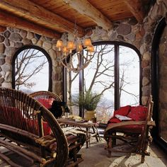 Image of Aesthetic Log Cabin Porches and Decks Below Rattan Patio Furniture Set with Large Throw Pillows Below Small Lamp Shades Mounted on Wooden Country Chandeliers also Small Cabin Kitchen Rustic Cabin Bedspreads Cabin Homes, Log Homes, Outdoor Rooms, Outdoor Living, Cabana, Twig Furniture, Furniture Plans, Garden Furniture, Outdoor Furniture