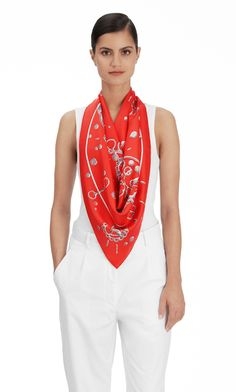 """Cheval Fusion Hermes silk twill scarf, hand rolled, 36"""" x 36"""" Color : red/gray steel Ref. : H002857S 16"""