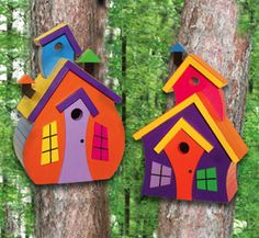 Wonky colorful birdhouses