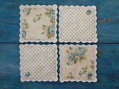 Coasters fabric crochet lace mug rug ivory blue polka dot roses shabby chic vintage style rustic kitchen decor cozy home covered buttons
