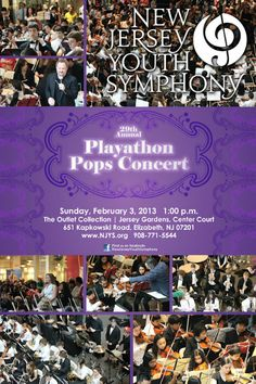 Free New Jersey Youth Symphony Concert  Feb 3, 2013, 1-4pm Center Court  The Outlet Collection Jersey Gardens (Elizabeth, NJ)