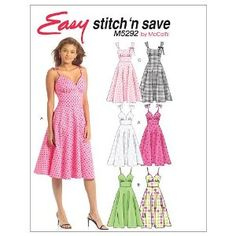McCall's Patterns M5292 Misses' Dresses, Size A (4-6-8-10): Amazon.co.uk: Kitchen & Home
