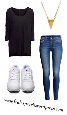 Casual café outfit. Pieces from H, Asos & Reebook.