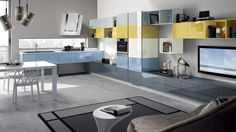 blue and yellow cabinets Scavolini Kitchens, Yellow Cabinets, Muebles Living, Kitchen Cabinet Design, Luxury Kitchens, Kitchen Colors, Designer, House Design, Living Room