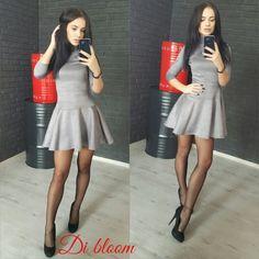 Платье шикарное гольф юбка клеш замшевое молодежное серый