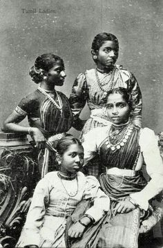Vintage saree fashion. Remember, fashion always comes a full circle...how gorgeous are these ladies tho :) such lovely bone structure
