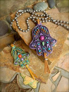 fatima hand HAMSA NECKLACE gypsy protective jewelry ball by GPyoga