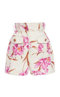 Corsage Belted Printed Linen Shorts by Zimmermann Kpop Fashion Outfits, Fashion Dresses, Womens Fashion, Fashion Trends, Short Outfits, Cute Outfits, Looks Style, My Style, Linen Shorts