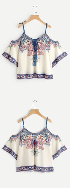 Open Shoulder Aztec Print Lace Up Top I would like this as long as it not lined or heavy.