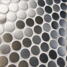 "EliteTile Metallic .75"" x .75"" Penny Round Stainless Steel…"