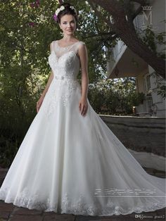 A Line Wedding Dresses 2017 Mary's Bridal with Sheer Scoop Neck And Keyhole Back Appliques Tulle Beautiful Robe De Mariage Lace Up Back Wedding Dress 2017 Vestido De Noiva Robe De Mariage Online with $202.29/Piece on Grace2's Store   DHgate.com