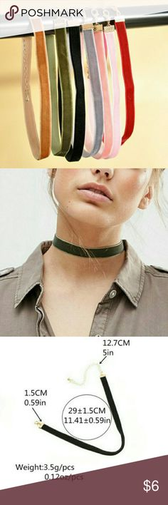 🎉SALE🎉Velvet Chokers (Multiple Colors Available) NEW: Fashion Womens Colorful Velvet Choker Necklaces. Multiple Colors. I only have one of each. Please click on the color box to make your choice. 😊 Colors: Brown, Olive Green, Black, Grey, Peach, Pink, Red. Chain Type: Link Chain Style: Trendy Metals Type: Zinc Alloy Jewelry Necklaces