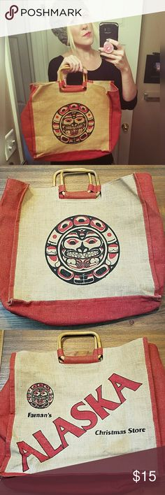 """Great, ALASKA tote!! Tote from Farnan's Christmas Store in Juneau, Alaska. Perfect carry all. Some discoloraton on Alaska side. (See 7th pic). 15.75"""" wide. 15"""" tall. 3.5"""" handle drop. Bags"""