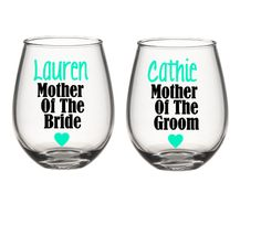 Mother Of The Bride Wine Glass, Mother Of The Groom Wine Glass, Personalized Wine Glass, Bride's Mother Gifts, Wedding Party Gifts by SiplySophisticated on Etsy