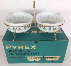 Vintage Pyrex Cinderella Twin Server Set Promo IN BOX ~NICE!~ No. 472-M