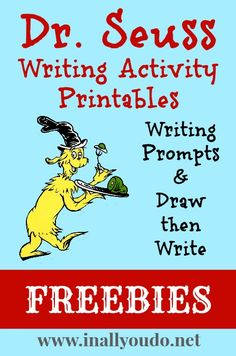 Seuss Writing Activities Printables - In All You Do Dr. Seuss, Dr Seuss Week, Writing Lessons, Teaching Writing, Student Teaching, Teaching Tools, Writing Prompts For Kids, Writing Promps, Library Lessons
