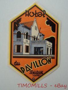 Vintage Hotel Du Pavillon Luggage Label Semarang Java 1930s | eBay
