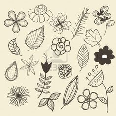 a collection of flower and leaf doodles ✭✭