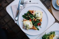 waffles with eggs (florentine) benedict