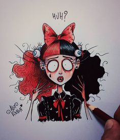 Melanie Stressed out! Tim Burton Drawings Style, Tim Burton Art Style, Art Drawings Sketches, Cute Drawings, Melanie Martinez Mad Hatter, Desenhos Tim Burton, Horror Art, Cartoon Art, Character Design