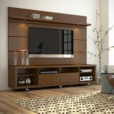 Manhattan Comfort - Cabrini TV Stand and Floating Wall TV Panel with LED Lights in Nut Brown The Cabrini TV Stand and Cabrini Panel combined create a complete Home Theater Entertainment Center! Easily maneuver the Cabrini TV Stand int Tv Stand And Panel, Tv Wall Panel, Tv Wanddekor, Tv Unit Furniture, Furniture Storage, Sofa Furniture, Painted Furniture, Modern Furniture, Furniture Design