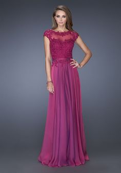 Unique chiffon gown with a sweetheart neckline and cap sleeves. The neck is trimmed with lace accents and mesh fabric covers the chest and back. The fitted natural waistline and magnificent lace bodice make this a flattering style. Back zipper closure. Evening Collection Size Chart A.