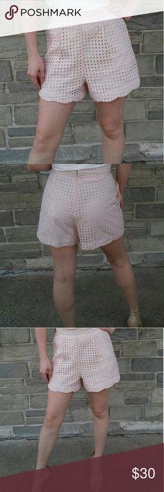 Ellison Women's Shorts Anthropology Blush colored lined shorts.dress or casual, eyelet lace , scallop bottom, zippered back. Ellison  Shorts
