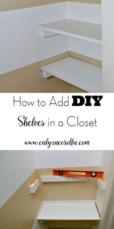 It's not difficult to give yourself a little extra space in a closet for storage and organization. All it takes is a few supplies, a helper, and an afternoon. Here's how to add DIY shelves in a closet! How to Add DIY Shelves In a Closet Master Closet, Closet Bedroom, Diy Bedroom, Bathroom Closet, Trendy Bedroom, Bedroom Storage, Bathroom Shelves, Bathroom Ideas, Design Bedroom