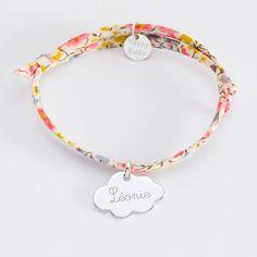 Bracelet enfant Liberty personnalisé prénom médaille gravée argent nuage  20x14 mm 793eef6ff9ce