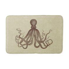Vintage Brown Octopus Bath Mat