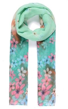 Retro Floral Print Jade Green Pink Brown Pashmina Scarf Wrap SS17 Styles  #Intrigue #Scarf