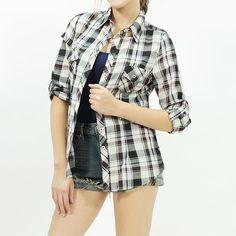 Woven long roll up sleeve plaid shirt Black/brown