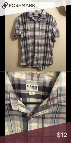 Old Navy Short Sleeved Plaid Button Down Blue, red, and off white plaid button down. In good condition. Old Navy Shirts Casual Button Down Shirts