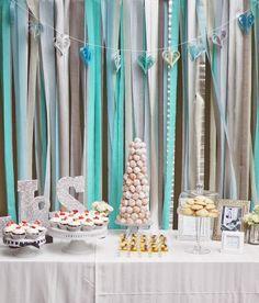 Idea for Tiffany food table backdrop or photobooth.