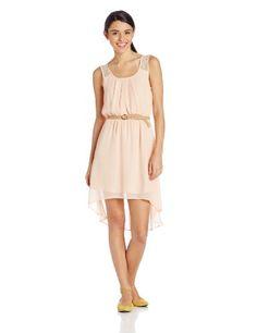 As U Wish Women's Hi Lo Hem Dress with Lace Back and Belt, Pastel Peach, Large As U Wish,http://www.amazon.com/dp/B00GRK83N8/ref=cm_sw_r_pi_dp_C6Lbtb1ZZJG5C6Q0