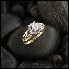 Triquetra and Halo diamond engagement ring.
