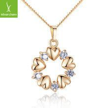 2016 Brand Pendant Necklace for Women 18k Real Gold Plated 5 Heart and Brilliant Crystal Zircon Jewelry gift JIN018