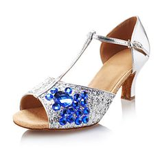 Women's Amazing Sparkling Glitter Blue Rhinestone Color T Strap Ballroom Latin Dance Shoes Dandals – GBP £ 17.03