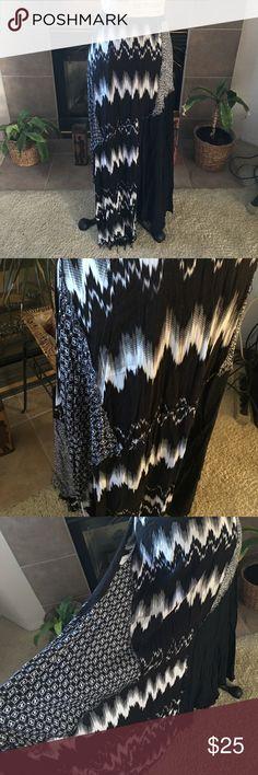 Maxi Patchwork Peasant Skirt Black and white skirt in size XL by Arden B. Raw asymmetrical hem. Elasticized waist. Half slip. Worn several times. Arden B Skirts Maxi