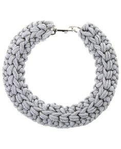 Silver crochet rope collar from Kapow Wow!. This coller fastens with a dog clip at the back of the neck.