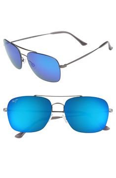 b9b5e43aefabef MAUI JIM LAVA TUBE 57MM POLARIZEDPLUS2 AVIATOR SUNGLASSES - DARK  GUNMETAL BLUE HAWAII.  mauijim